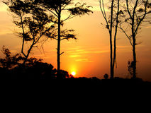 заход солнца mahabalipuram Стоковая Фотография