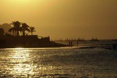 заход солнца mancora стоковая фотография rf