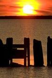 заход солнца manitoba острова hecla Канады Стоковая Фотография RF