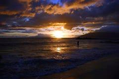 заход солнца maui острова Гавайских островов Стоковая Фотография RF