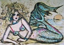 заход солнца mermaid Стоковая Фотография