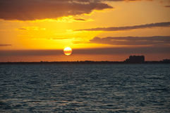 заход солнца miami Стоковая Фотография RF