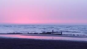 Заход солнца Mohammedia Марокко стоковое фото rf