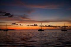 заход солнца moorea Стоковые Фото