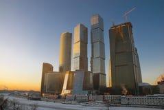 заход солнца moscow делового центра Стоковые Фото