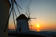 заход солнца mykonos Стоковое Изображение RF