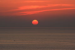заход солнца mykonos стоковые изображения rf