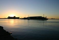 заход солнца newcastle гавани Стоковая Фотография RF