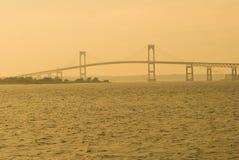 заход солнца newport моста Стоковое Фото