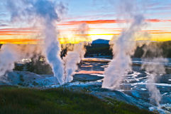 заход солнца norris гейзера тазика Стоковое Изображение RF