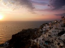 Заход солнца Oia красочный стоковая фотография rf