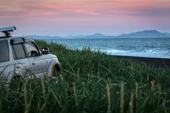 заход солнца pacific океана стоковое изображение rf