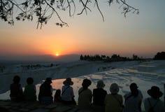 заход солнца pamukkale Стоковая Фотография