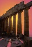 заход солнца parthenon Стоковые Изображения RF