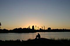 заход солнца perthscape Стоковые Фото