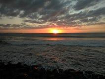Заход солнца Playa Rompeolas Aquadillia Пуэрто-Рико Стоковое Изображение RF