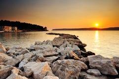 заход солнца pylos Греции Стоковая Фотография
