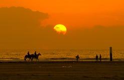 заход солнца riding horseback Стоковые Изображения