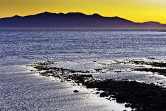 заход солнца saltcoats arran Стоковые Изображения RF
