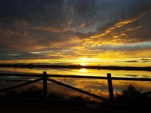 Заход солнца San Pedro del Pinatar стоковые фотографии rf