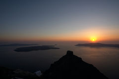 заход солнца santorini Греции Стоковое Фото