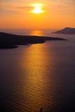 заход солнца santorini Стоковое фото RF