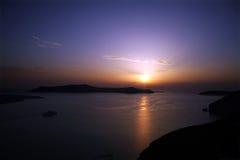 заход солнца santorini Стоковое Фото