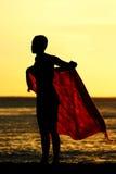 заход солнца sarong девушки Стоковая Фотография RF