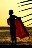 заход солнца sarong девушки Стоковое Изображение