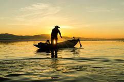 заход солнца sava реки рыболовов belgrade Стоковое Фото
