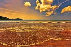 Заход солнца Seascape в острове Хайнаня Стоковые Фотографии RF