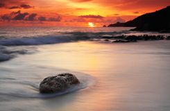 заход солнца seascape Стоковые Фотографии RF