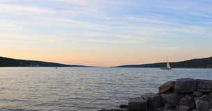 заход солнца senica озера Стоковое фото RF