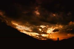 Заход солнца Sexten alt - доломит, Италия Стоковое фото RF