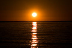 заход солнца simcoe озера Стоковая Фотография RF
