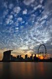 заход солнца singapore Марины залива Стоковое Фото