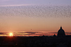 заход солнца st peter rome стоковое фото rf