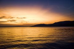 Заход солнца Stara Baska 2017 стоковое изображение