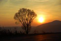 заход солнца transylvanian Стоковая Фотография RF