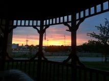 Заход солнца Tulsa Стоковая Фотография