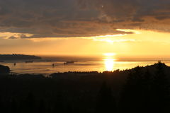 заход солнца vancouver Стоковое Фото