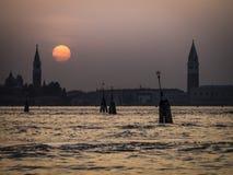 заход солнца venice Италии Стоковые Фотографии RF