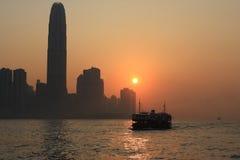 заход солнца victoria гавани стоковая фотография rf