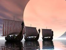 заход солнца viking Стоковая Фотография