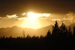 заход солнца yellowstone Стоковое Изображение