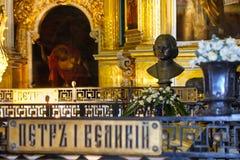 Захоронение императора Питера i в соборе Питера и Пола в крепости Питера и Пола, Санкт-Петербурге, России Стоковое фото RF