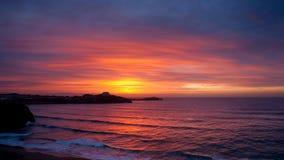 заход солнца Англии newquay Стоковые Фотографии RF
