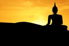 заход солнца Будды Стоковая Фотография