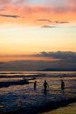 заход солнца ванны Стоковые Фото