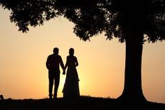 заход солнца влюбленности пар Стоковые Фотографии RF